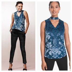 White House Black Market Salma Burnout Velvet Tank